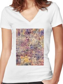 Las Vegas City Street Map Women's Fitted V-Neck T-Shirt