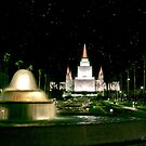 Oakland Temple Fountain by Starlight 20x24 by Ken Fortie