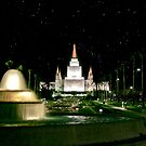 Oakland Temple Fountain by Starlight 20x30 by Ken Fortie