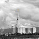 Oquirrh Mountain Temple Cloudy Sky b&w 20x24 by Ken Fortie