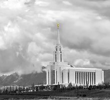 Oquirrh Mountain Temple Cloudy Sky b&w 20x30 by Ken Fortie