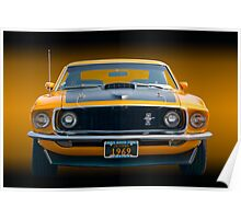 1969 Mustang Mach 1 Fastback - Front View Poster