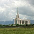 Oquirrh Mountain Temple Hawk After the Storm 20x24 by Ken Fortie