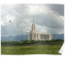Oquirrh Mountain Temple Hawk After the Storm 20x24 Poster