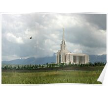 Oquirrh Mountain Temple Hawk After the Storm 20x30 Poster