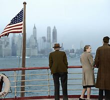 1941 Dec, Lower Manhattan seen from the S.S. Coamo leaving New York. by Marie-Lou Chatel
