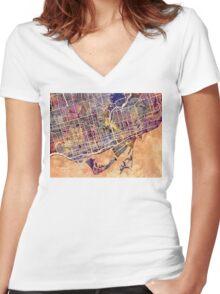Toronto Street Map Women's Fitted V-Neck T-Shirt