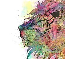 Awesome tribal watercolor lion design by InovArtS