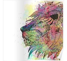 Awesome tribal watercolor lion design Poster