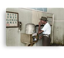 "1939 July: Man drinking at ""Colored"" water cooler in streetcar terminal, Oklahoma Canvas Print"