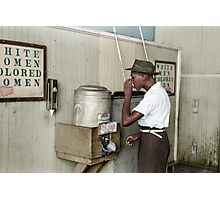 "1939 July: Man drinking at ""Colored"" water cooler in streetcar terminal, Oklahoma Photographic Print"