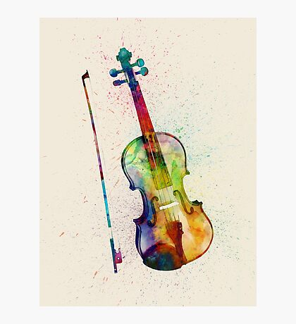 Violin Abstract Watercolor Photographic Print