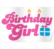 Birthday girl with cute little present Poster