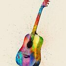 Acoustic Guitar Abstract Watercolor by Michael Tompsett