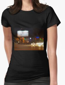 Defocused lights on the stream of cars Womens Fitted T-Shirt