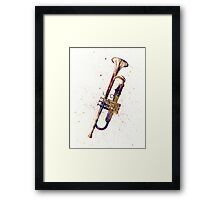 Trumpet Abstract Watercolor Framed Print