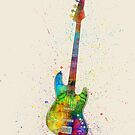 Electric Bass Guitar Abstract Watercolor by Michael Tompsett
