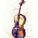 Cello Abstract Watercolor by Michael Tompsett