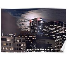 Melbourne Skyline Full Moon Poster