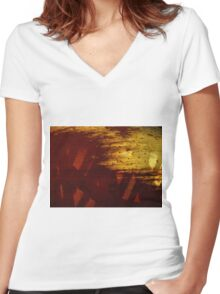 Spherical decay Women's Fitted V-Neck T-Shirt