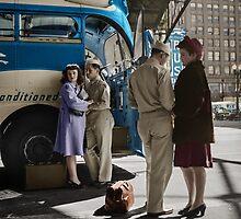 1943 Indiana. A soldier and a girl saying goodbye at the Greyhound bus station. by Marie-Lou Chatel