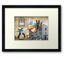 A flying book for the Spider Man Framed Print