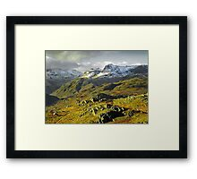 The Langdales from Loughrigg Fell, Cumbria Framed Print