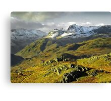 The Langdales from Loughrigg Fell, Cumbria Canvas Print