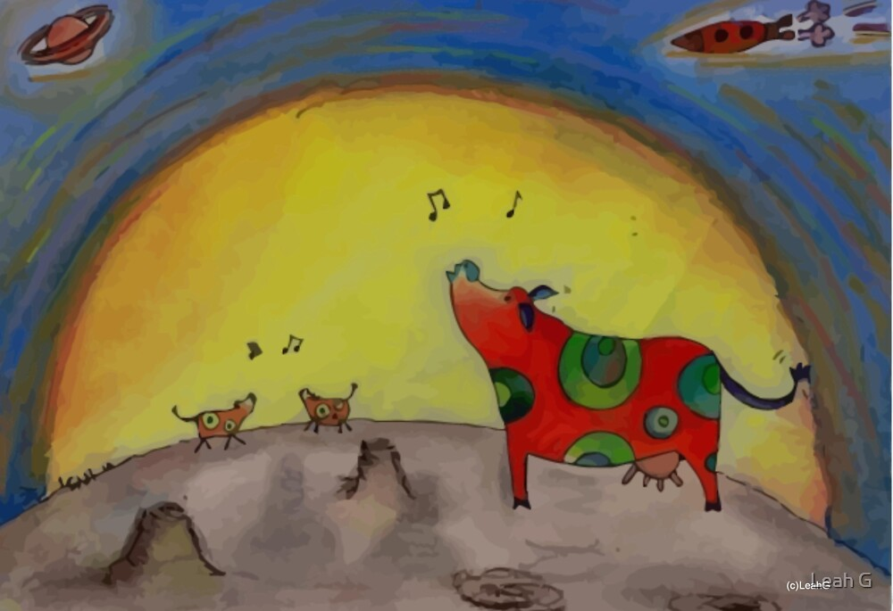 Singing Moon Cows - original art by LeahG by Leah G