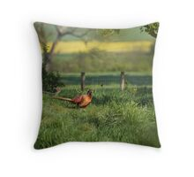 Pheasant in English Countryside Throw Pillow