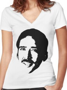 Nicolas Cage 2 Women's Fitted V-Neck T-Shirt
