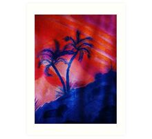 Palm Trees in the shadows of a falling sun, (darker version) watercolor Art Print