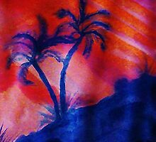 Palm Trees in the shadows of a falling sun, (darker version) watercolor by Anna  Lewis, blind artist