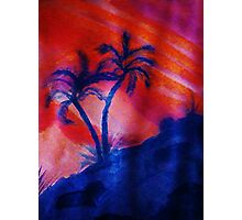 Palm Trees in the shadows of a falling sun, (darker version) watercolor Photographic Print