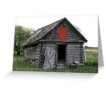 Old Log Cabin on the Prairies Greeting Card