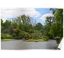 Japanese symbol over the water in garden Poster