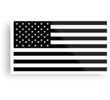 American Flag, STARS & STRIPES, USA, America, Black on white Metal Print