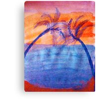 Palm tree Series #3 (lighter version), Over the Ocean, watercolor Canvas Print