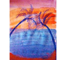 Palm tree Series #3 (lighter version), Over the Ocean, watercolor Photographic Print