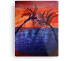 Palm tree Series #3 (darker  version), Over the Ocean, watercolor Metal Print