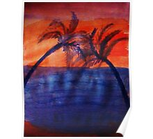 Palm tree Series #3 (darker  version), Over the Ocean, watercolor Poster