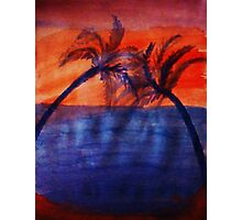 Palm tree Series #3 (darker  version), Over the Ocean, watercolor Photographic Print