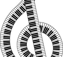 clef from piano keyboard by vladov