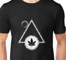 Black Marijuana leaf with the Sun and triangle Unisex T-Shirt