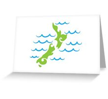 Tribal green New Zealand map on the water Greeting Card