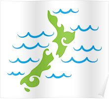 Tribal green New Zealand map on the water Poster