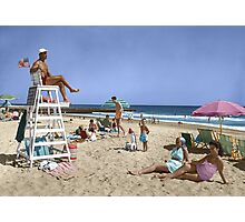 1947: Surf Club Atlantic Beach, Long Island, New York. Beach scene Photographic Print