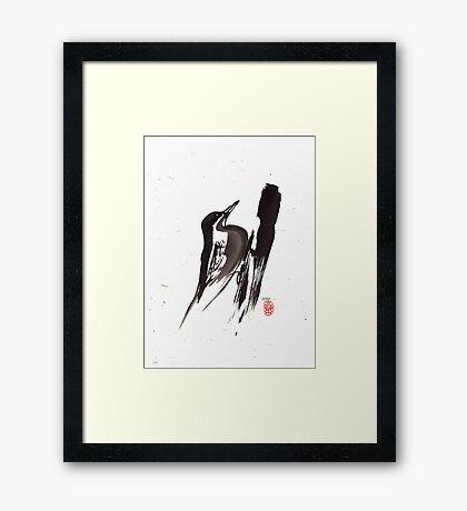 Nut Hatch Sumi-e Framed Print