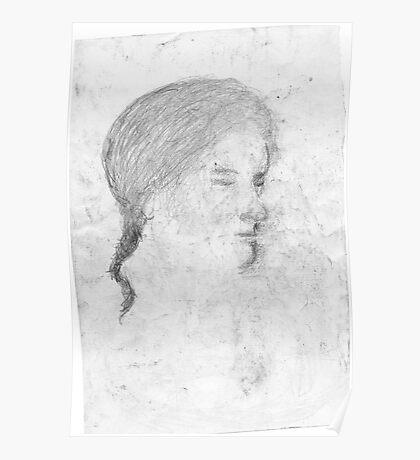 female head/drawn on bus -(240511)- pencil/A4 Poster