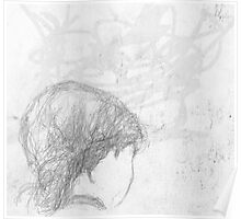 back of female head/seen on bus -(240511)- Pencil/A4 Poster